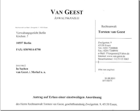 van Geest: Action for provisional Injunction against Angela Merkel